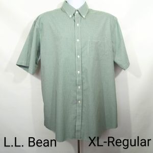 L.L. Bean Short Sleeve Green Gingham Button Shirt